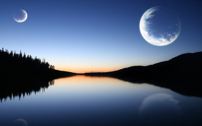 blue nature and moon